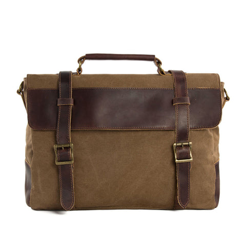 Unisex Canvas Leather Briefcase, Messenger Bag Laptop Shoulder Bag 1870 - ROCKCOWLEATHERSTUDIO