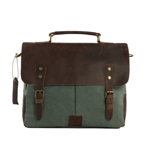 Canvas Leather Bag Briefcase Messenger Bag Shoulder Bag Laptop Bag 1807 - ROCKCOWLEATHERSTUDIO