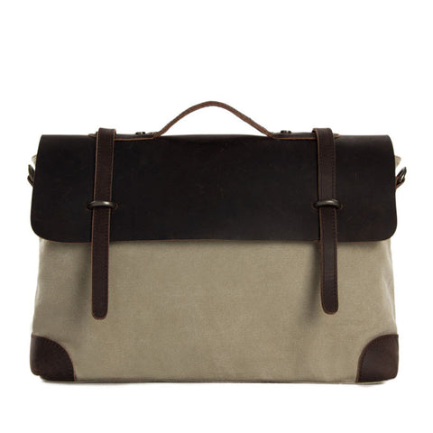 14 Inch Canvas Leather Briefcase Messenger Bag Shoulder Bag Laptop Bag 6896 - ROCKCOWLEATHERSTUDIO