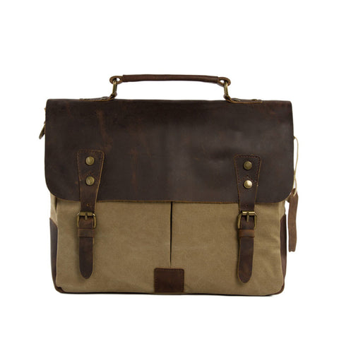 14 Inch Canvas Leather Bag Briefcase Messenger Bag Shoulder Bag Laptop Bag 1807 - ROCKCOWLEATHERSTUDIO