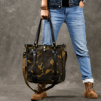 Canvas Men Tote Bag Camouflage Shoulder Bag Vintage Men Messenger Bag ESS399 - ROCKCOWLEATHERSTUDIO
