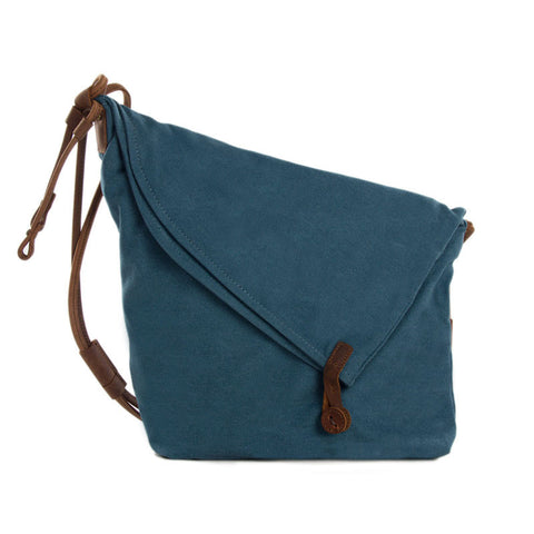 Canvas Leather Satchel Bag, Waxed Canvas Messenger Bag Crossbody Bag Shoulder Bag 6631 - ROCKCOWLEATHERSTUDIO