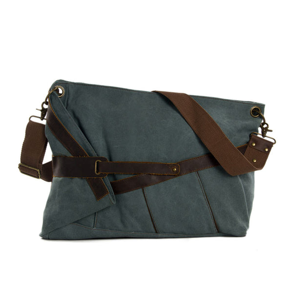 Canvas Leather Messenger Bag Crossbody Bag Shoulder Bag Satchel Bag 6225 - ROCKCOWLEATHERSTUDIO
