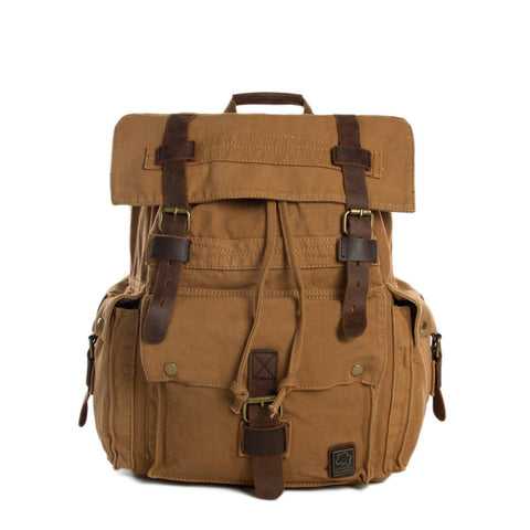 Wholesale High Quality Canvas Backpack, Shoulder Backpack, Canvas Leather Backpack 2150 - ROCKCOWLEATHERSTUDIO