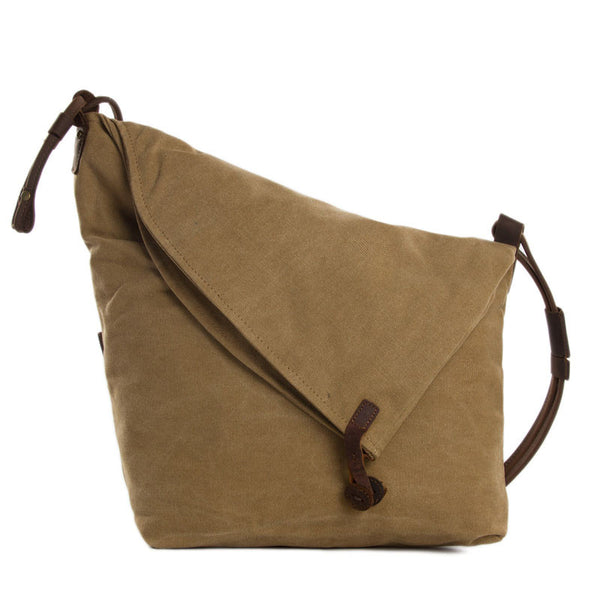 Canvas Leather Messenger Bag, Crossbody Bag Shoulder Bag, Satchel Bag 6631 - ROCKCOWLEATHERSTUDIO