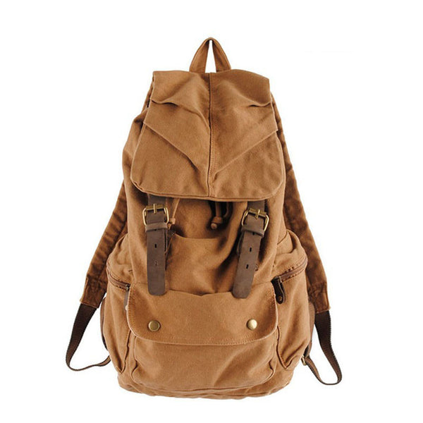 Leather Trimmed Waxed Canvas Backpack, School Backpack, Travel Backpack 1005 - ROCKCOWLEATHERSTUDIO