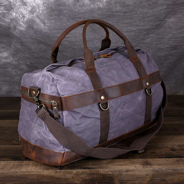 Canvas Travel Bag Waxed Canvas Duffle Bag Men Weekender Bags Gym Bags FX8826 - ROCKCOWLEATHERSTUDIO