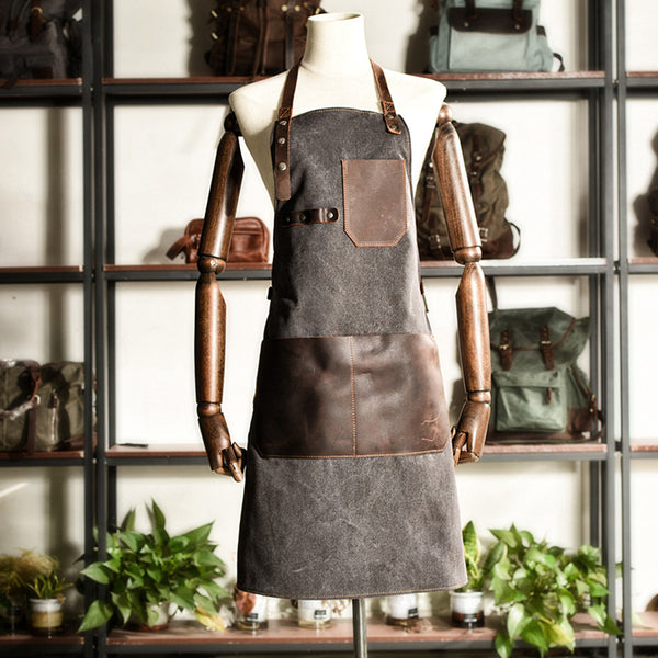 Canvas With Leather Apron Work Apron Durable Studio Apron Restaurant Apron Shop Apron MC6156PI - ROCKCOWLEATHERSTUDIO