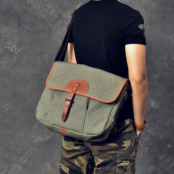 Canvas With Leather Men Messenger Bag Large Capacity Shoulder Bag Laptop Bag ESS2283 - ROCKCOWLEATHERSTUDIO