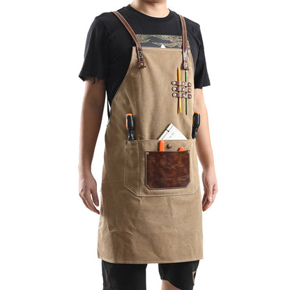 Canvas With Leather Shop Apron Durable Work Apron Craftsman Apron Studio Apron Unisex Apron Adjustable Apron FX888055