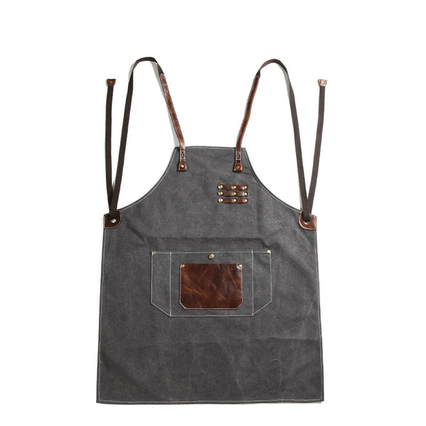 Canvas With Leather Shop Apron Durable Work Apron Craftsman Apron Studio Apron Unisex Apron Adjustable Apron FX888055 - ROCKCOWLEATHERSTUDIO