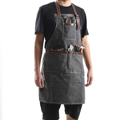 Canvas With Leather Work Apron Craftsman Apron Studio Apron Workshop Apron Unisex Long Apron FX888122
