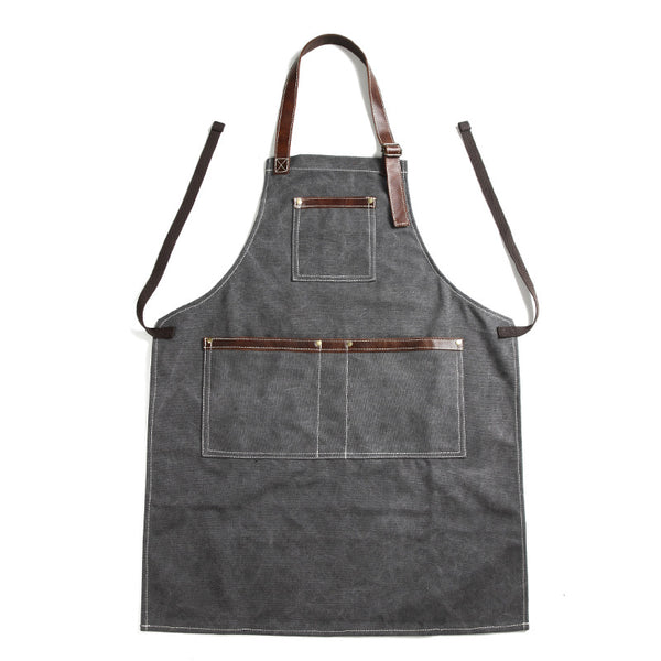 Canvas With Leather Work Apron Craftsman Apron Studio Apron Workshop Apron Unisex Long Apron FX888122 - ROCKCOWLEATHERSTUDIO