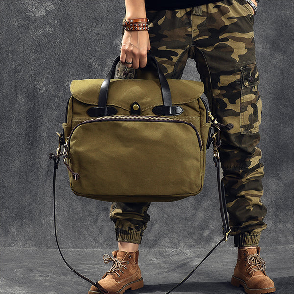 Canvas With Vegetable Tanned Leather Men Tote Bag Durable Shoulder Bag Messenger Bag ESS3988 - ROCKCOWLEATHERSTUDIO