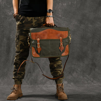 Canvas With Vegetable Tanned Leather Messenger Bag Vintage Men Shoulder Bag Satchel ESS388 - ROCKCOWLEATHERSTUDIO