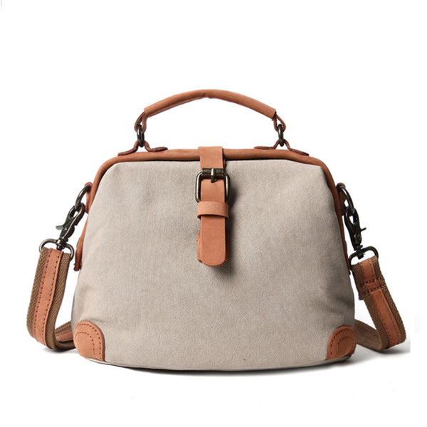 Canvas Women Handbag Vintage Canvas Shoulder Bag Messenger Bag Crossbody Bag FX7118 - ROCKCOWLEATHERSTUDIO