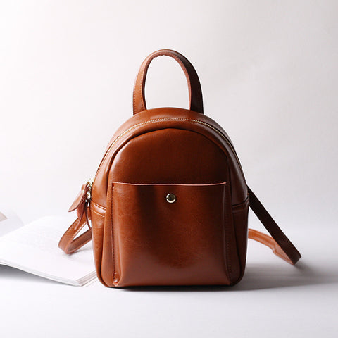Casual Leather Vintage Bag, Women Fashion Mini Backpack, College Style Shoulder Bag 9246