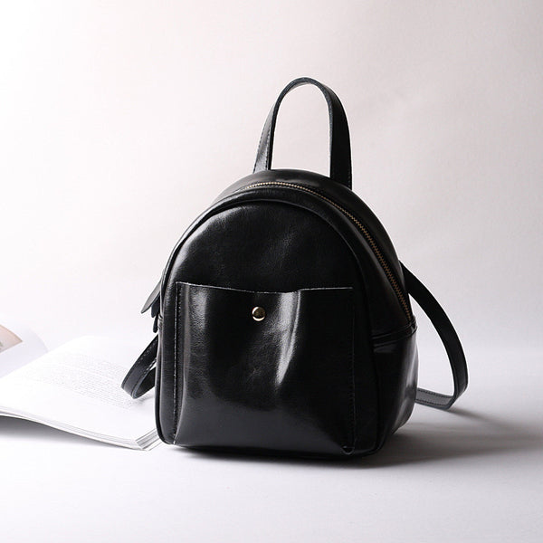Casual Leather Vintage Bag, Women Fashion Mini Backpack, College Style Shoulder Bag 9246 - ROCKCOWLEATHERSTUDIO