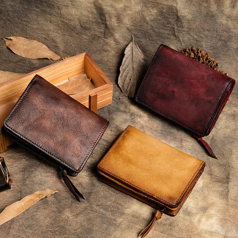 Vintage Leather Wallet, Full Grain Leather Purses, Handmade Zipper Womens Wallet TF1010-3