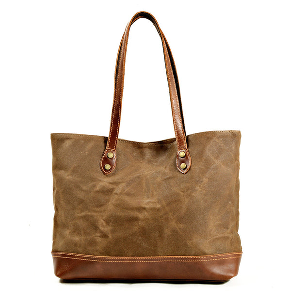 Waxed Canvas With Full Grain Leather Shoulder Bag Waterproof Canvas Everyday Tote Unisex Casual Shopper Bags MC9712W