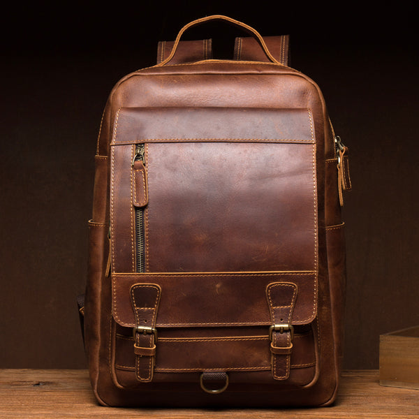 Crazy Horse Leather Backpack Handmade Travel Backpack Laptop Backpack Retro Backpack MSG9147 - ROCKCOWLEATHERSTUDIO