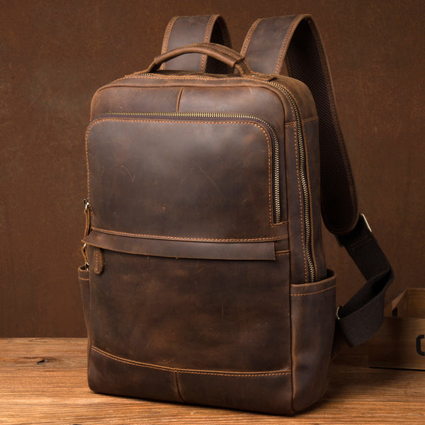Crazy Horse Leather Backpack Men Laptop Backpack Handmade Travel Backpack MSG7635 - ROCKCOWLEATHERSTUDIO