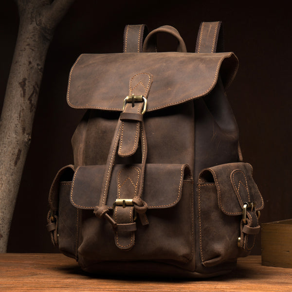 Crazy Horse Leather Backpack Retro Travel Backpack Unisex Laptop Backpack MSG7531 - ROCKCOWLEATHERSTUDIO