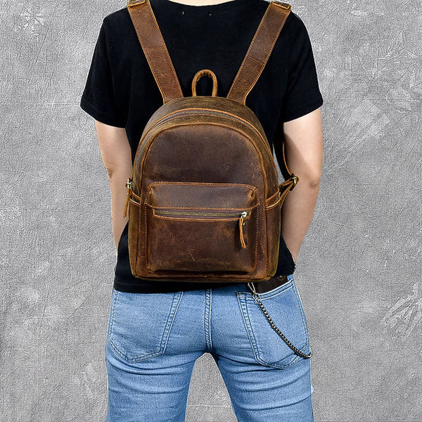 Crazy Horse Leather Backpack Vintage Travel Backpack Handmade Daily Backpack ESS2982 - ROCKCOWLEATHERSTUDIO