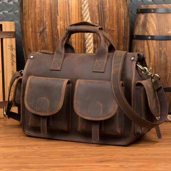 Crazy Horse Leather Briefcase Large Capacity Tote Bag Men Shoulder Bag Messenger Bag MSG1804 - ROCKCOWLEATHERSTUDIO
