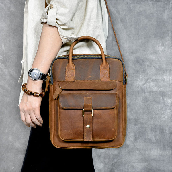 Crazy Horse Leather Casual Tote Bag Vintage Shoulder Bag Men Messenger Bag ESS2682 - ROCKCOWLEATHERSTUDIO