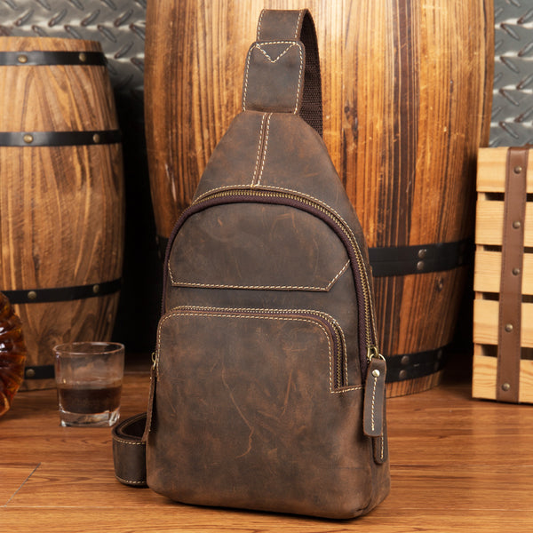 Crazy Horse Leather Chest Pack Handmade Men Chest Bag Vintage Shoulder Messenger Bag MSG2049 - ROCKCOWLEATHERSTUDIO