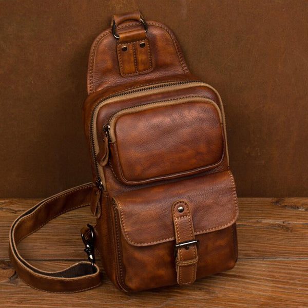 Crazy Horse Leather Chest Pack Handmade Shoulder Messenger Bag Casual Chest Bag MSG2050