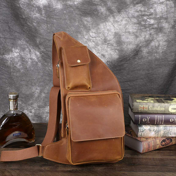 Crazy Horse Leather Chest Pack Men Shoulder Messenger Bag Casual Chest Bag GZ404
