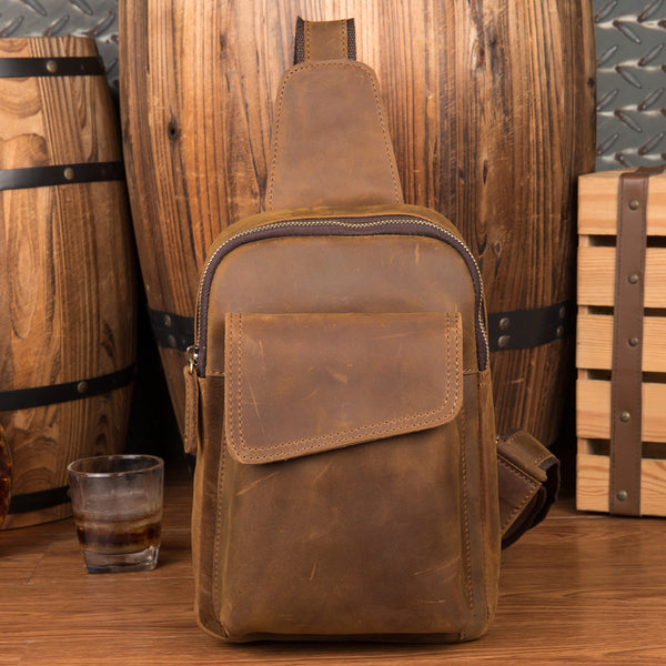 Crazy Horse Leather Chest Pack Men Shoulder Messenger Bag Outdoor Chest Bag MSG2043 - ROCKCOWLEATHERSTUDIO