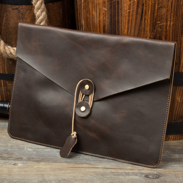 Crazy Horse Leather Clutch Men Envelope Clutch Retro Leather Clutch iPad Bag MSG1158 - ROCKCOWLEATHERSTUDIO
