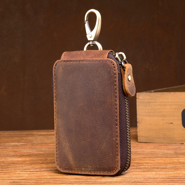 Crazy Horse Leather Key Wallet Leather Keys Holder Card Holder Wallet MSG2158 - ROCKCOWLEATHERSTUDIO