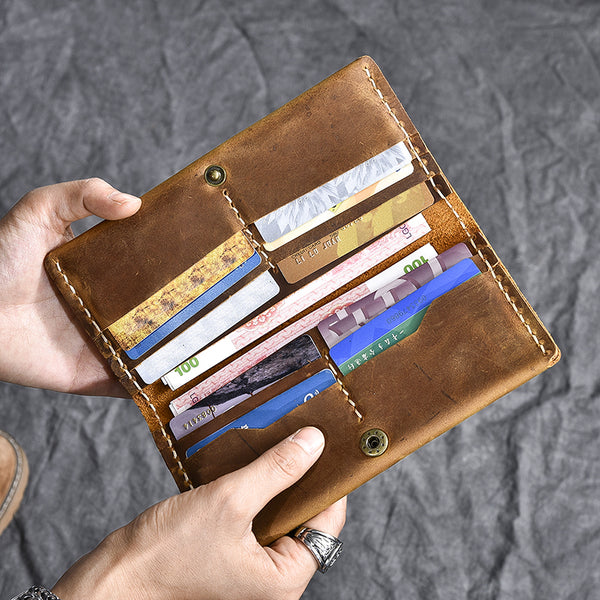 Crazy Horse Leather Long Wallet Handmade Card Holder Wallet Long Bifold Wallet ESS1682 - ROCKCOWLEATHERSTUDIO