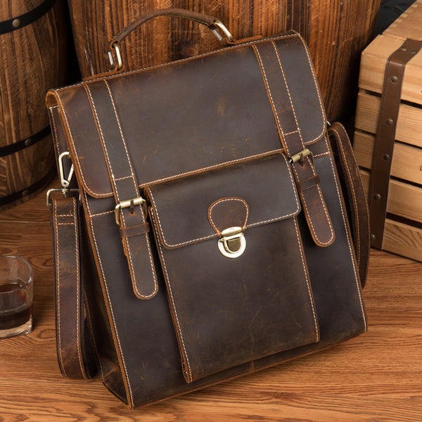 Crazy Horse Leather Men Backpack Multifunction Shoulder Messenger Bag Handmade Travel Backpack MSG8199 - ROCKCOWLEATHERSTUDIO