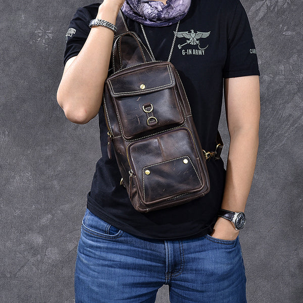 Crazy Horse Leather Men Chest Bag Handmade Chest Pack Vintage Messenger Bag ESS2585 - ROCKCOWLEATHERSTUDIO