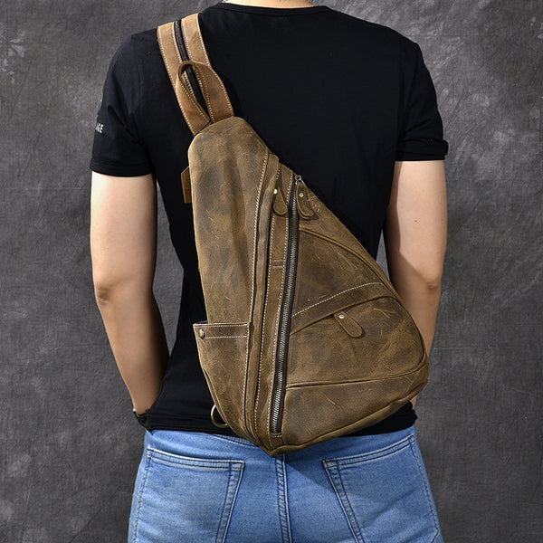 Crazy Horse Leather Men Chest Bag Vintage Chest Pack Backpack ESS2988 - ROCKCOWLEATHERSTUDIO