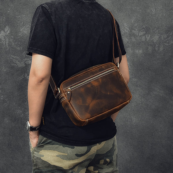 Crazy Horse Leather Men Messenger Bag Men Crossbody Bag Vintage Shoulder Bag ESS2586 - ROCKCOWLEATHERSTUDIO