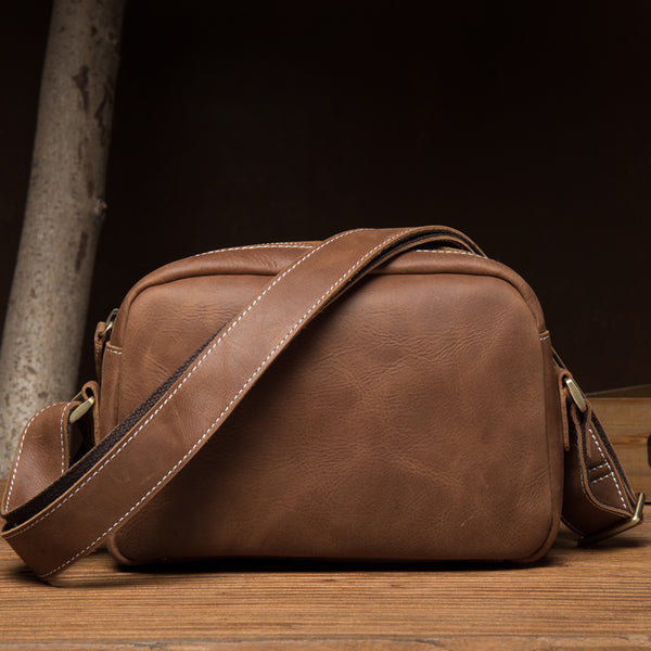Crazy Horse Leather Messenger Bag Handmade Shoulder Bag Men Crossbody Bag MSG5643 - ROCKCOWLEATHERSTUDIO