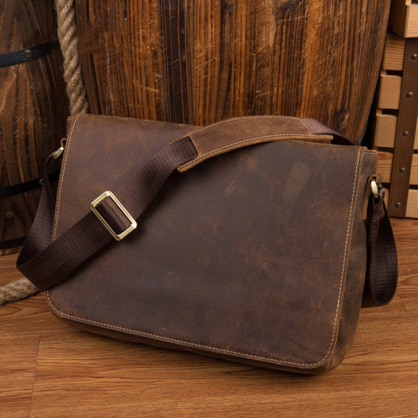 Crazy Horse Leather Messenger Bag Retro Men Shoulder Bag Handmade Satchel MSG1180