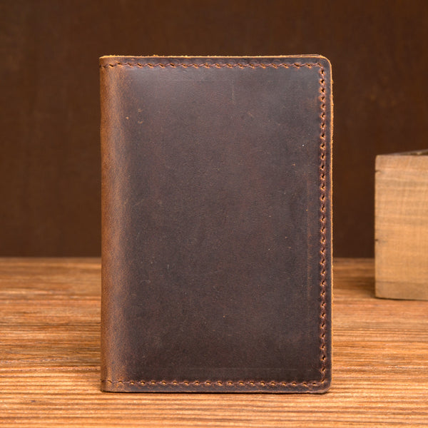 Crazy Horse Leather Short Wallet Men Card Holder Wallet Retro Credit Card Holder MSG2056 - ROCKCOWLEATHERSTUDIO