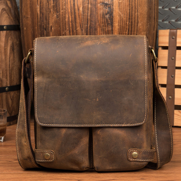 Crazy Horse Leather Shoulder Bag Men Messenger Bag Casual Crossbody Bag MSG8202 - ROCKCOWLEATHERSTUDIO