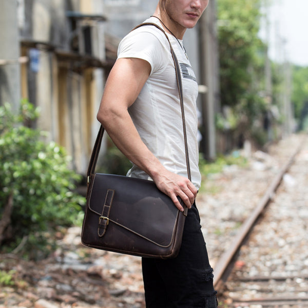 Crazy Horse Leather Shoulder Bag Men Messenger Bag Handmade Casual Satchel MSG1191