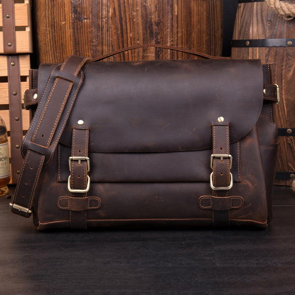 Crazy Horse Leather Shoulder Bag Retro Men Messenger Bag Casual Satchel Bag MSG1181 - ROCKCOWLEATHERSTUDIO