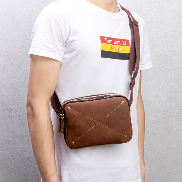 Crazy Horse Leather Shoulder Bag Retro Messenger Bag Handmade Waist Bag MSG5663