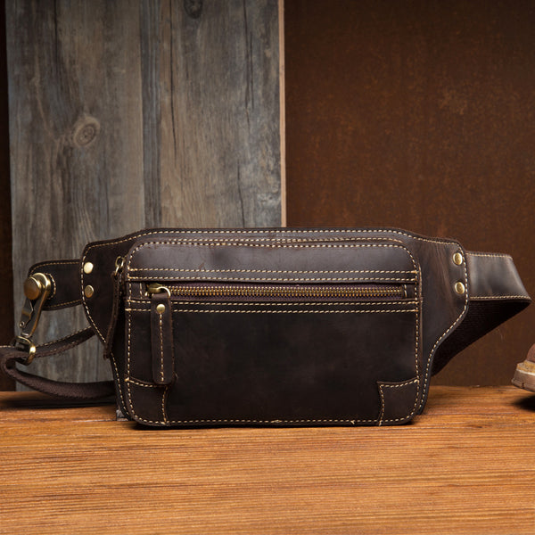 Crazy Horse Leather Waist Bag Men Chest Pack Retro Shoulder Messenger Bag Chest Bag MSG2066 - ROCKCOWLEATHERSTUDIO