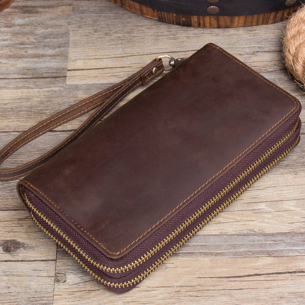 Crazy Horse Leather Wallet Handmade Long Wallet Men Long Clutch Wrist bags MSG2138